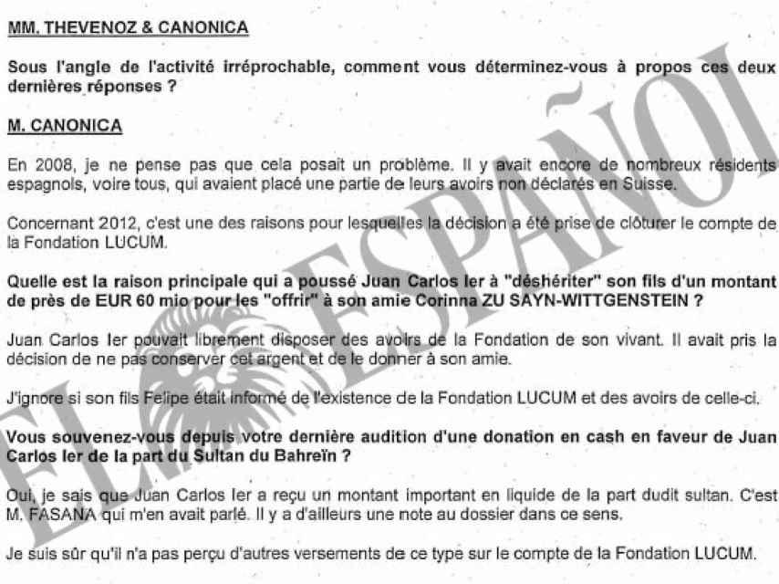 Parte de la comparecencia de Canónica, Fasana y Thévenoz ante el fiscal Bertossa./