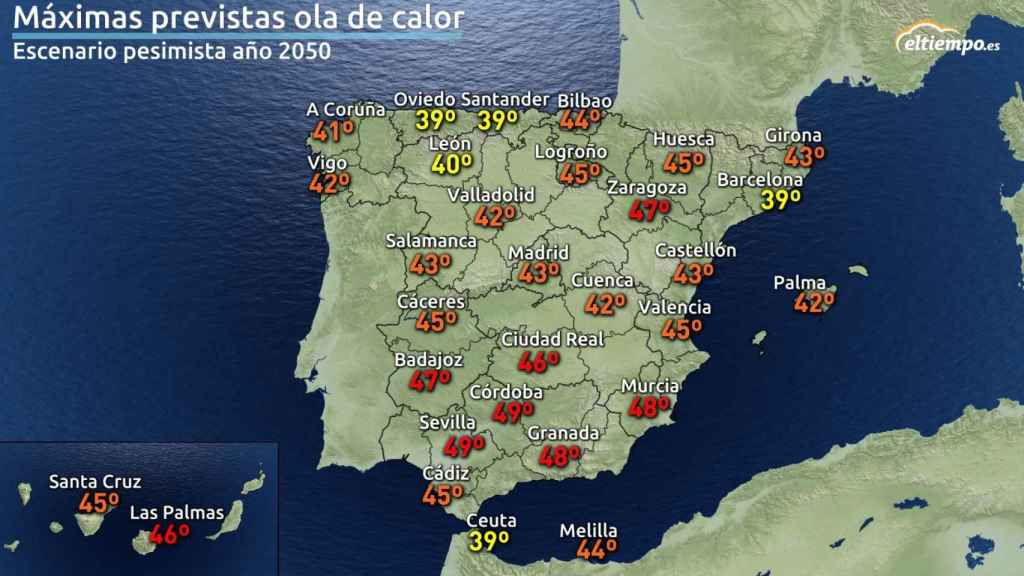 Mapa máximas previstas olas de calor 2050.