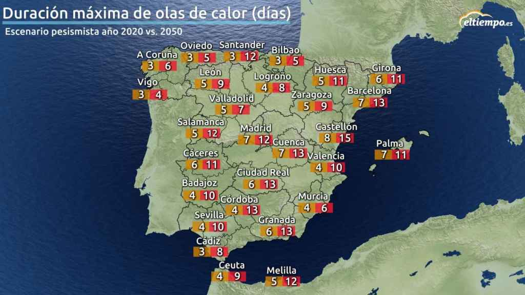 Mapa duración olas de calor.