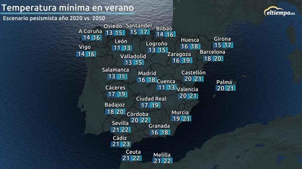 Mapa temperaturas mínimas verano 2050.