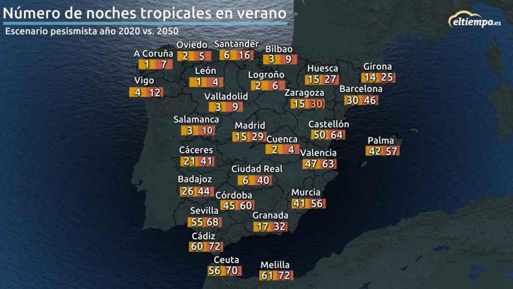Mapa noches tropicales verano 2050.