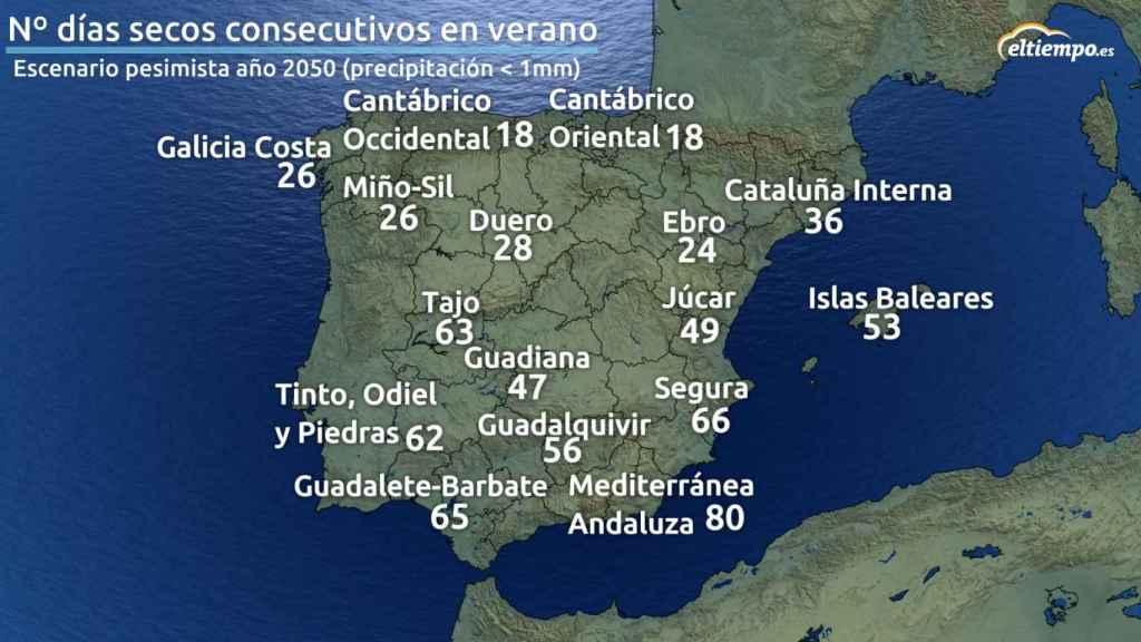 Mapa número días secos verano 2050.