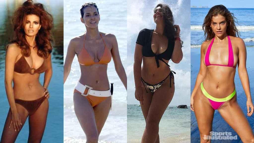 Varias modelos y actrices en bikini. Por orden: Rachel Welch (1960-1970); Halle Berry en la película de James Bond (2000); las modelos de Victoria Secret, Lorena Duran y Barbara Palvin.