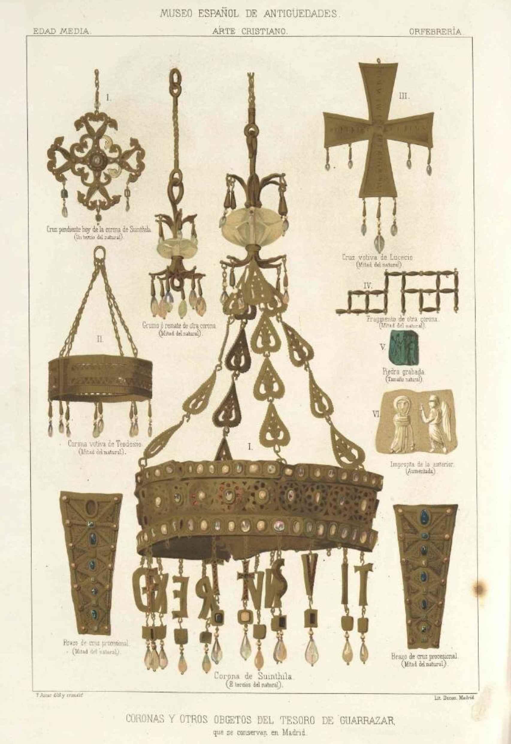 Representación de diversas piezas del Tesoro de Guarrazar, entre ellas la corona perdida de Suintila.
