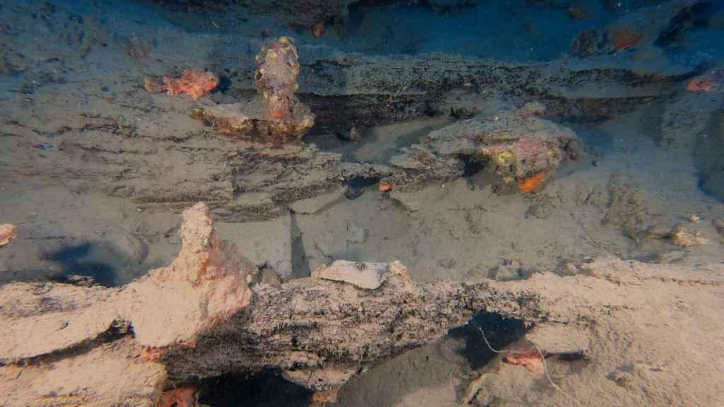 Parte del pecio hallado en aguas italianas.
