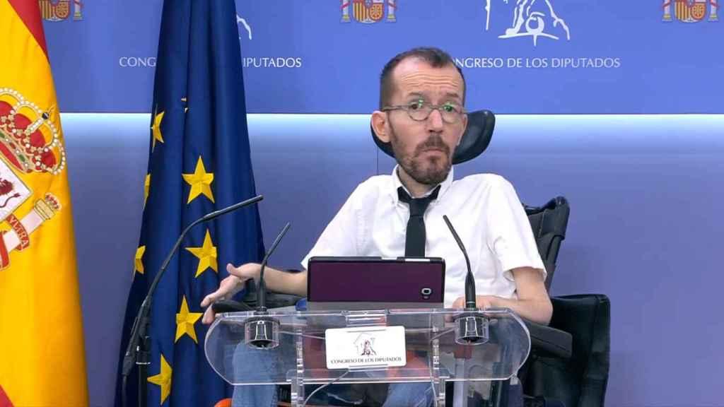Pablo Echenique, en rueda de prensa desde el Congreso de los Diputados.