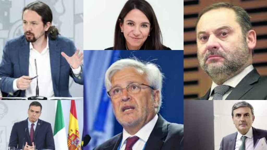 Pablo Iglesias, Pedro Sánchez, Beatriz Toribio, Joan Clos, José Luis Ábalos y Pedro Saura.