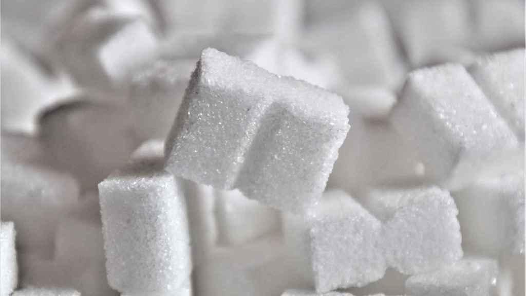Varios terrones de azúcar blanco.