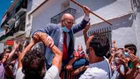 El alcalde de Cartaya, Alexis Landero, a la salida del pleno en el que tomó posesión el pasado lunes.