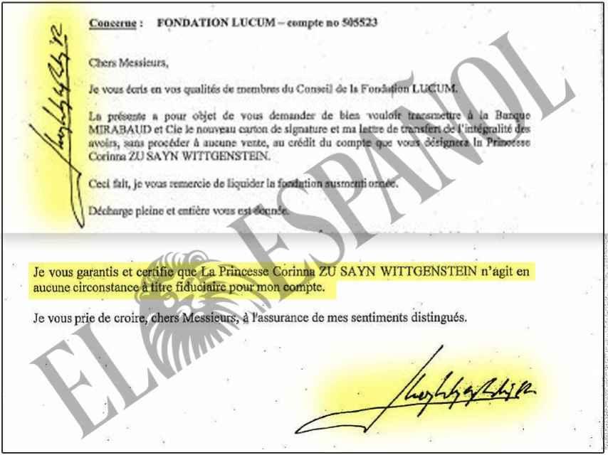 Carta firmada por Juan Carlos I dirigida a los administradores de su cuenta en Suiza./