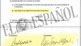 Las firmas de Juan Carlos I y Corinna Larsen en el contrato de la donación de 65 millones de euros./