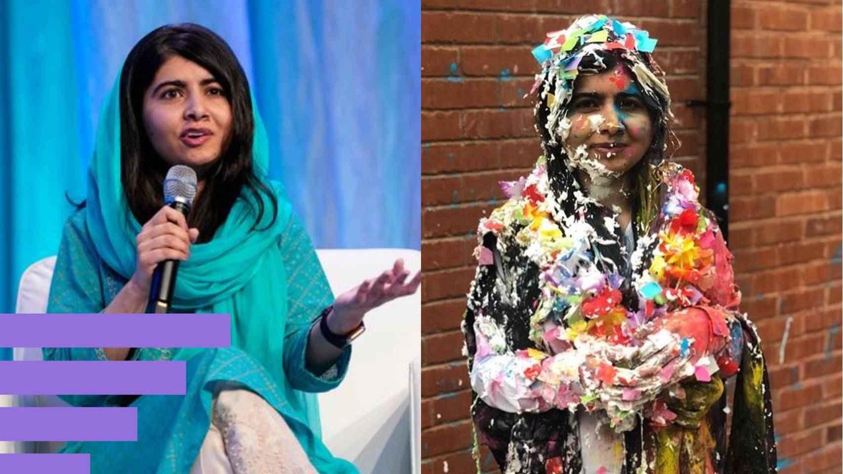 Malala, a la izquierda durante una conferencia en 2019, y a la derecha después de una tradición por la que los estudiantes se tiran confeti y espuma al terminar los exámenes.
