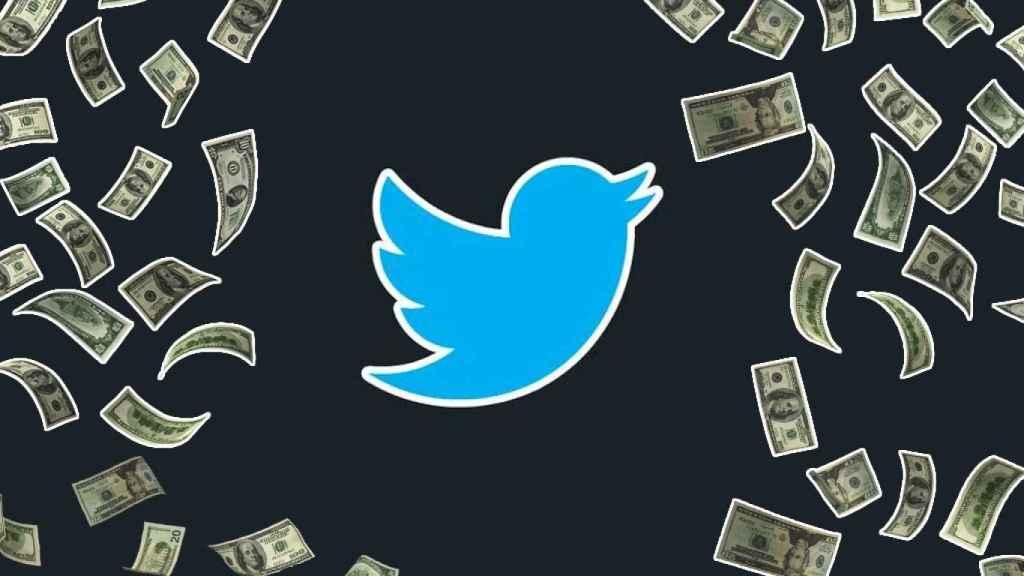 Logo de Twitter y dinero alrededor