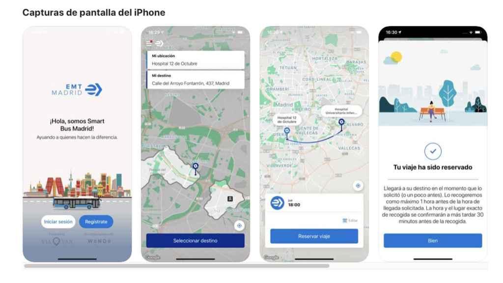Interfaz de EMT Smart Bus Madrid en iOS.