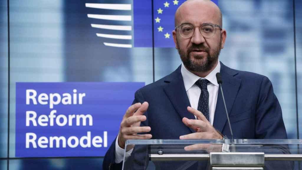 El presidente del Consejo Europeo, Charles Michel, durante la rueda de prensa de este viernes