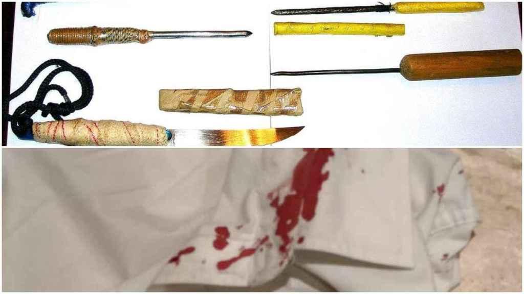 Arriba, armas artesanales que fabrican los presos para pelear, debajo, una bata manchada de sangre tras una reyerta.