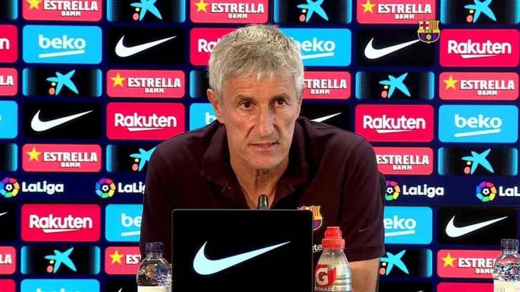 Quique Setién, entrenador del Barcelona, en rueda de prensa