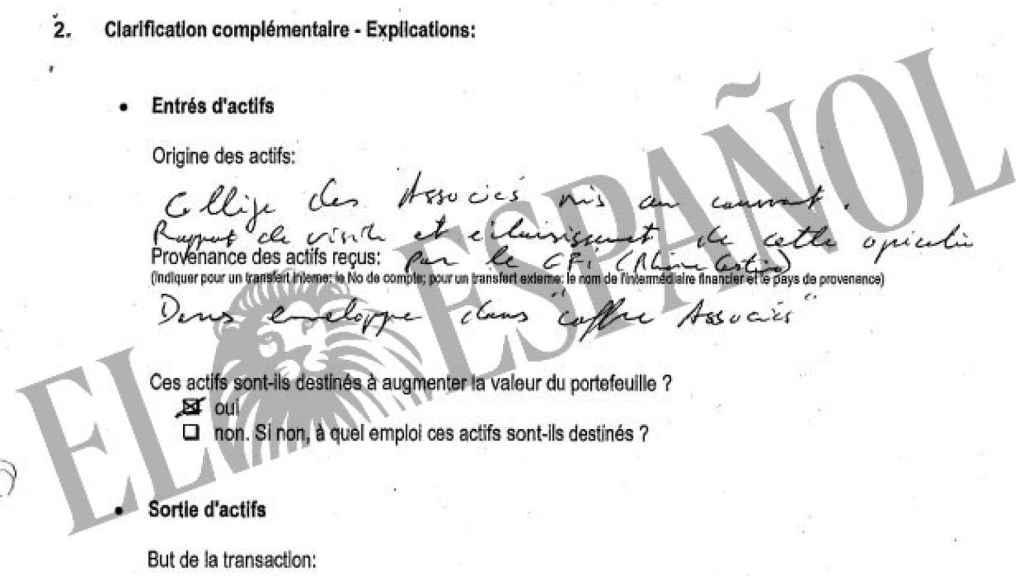 La documentación bancaria de Don Juan Carlos se guardó en un sobre en la caja de seguridad de los socios./