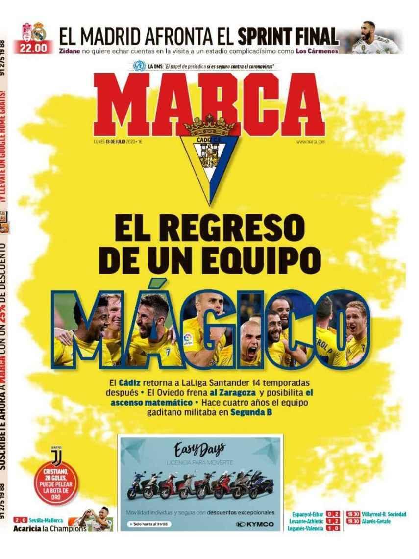 La portada del diario MARCA (13/07/2020)