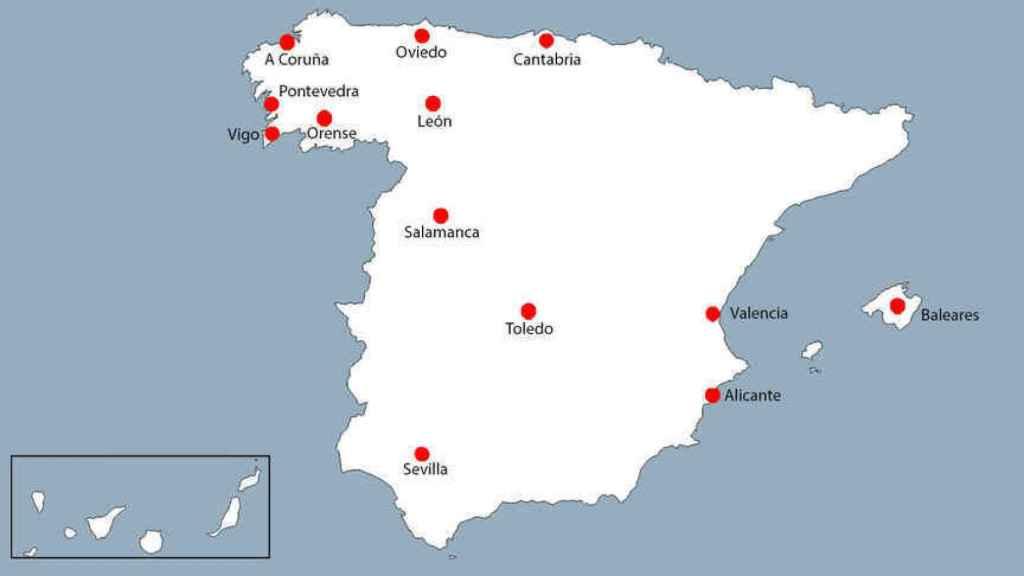 Lugares donde han sido vistas las furgonetas ocultas de la DGT.