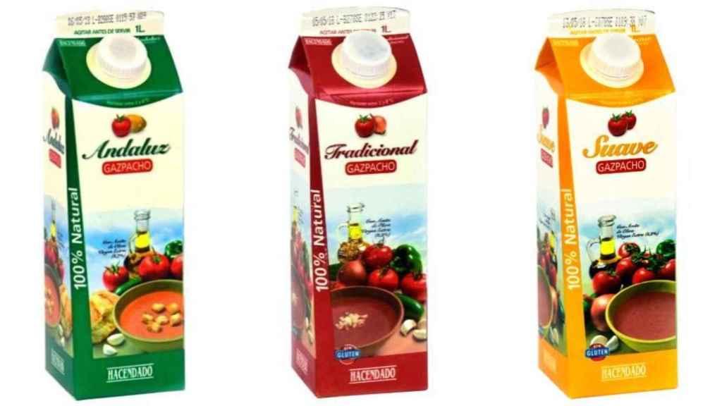 Tres tipos de gazpacho de Hacendado, la marca blanca de Mercadona.