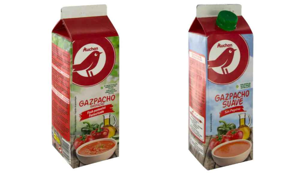 Dos tipos de gazpacho de Auchan, la marca blanca de Alcampo.