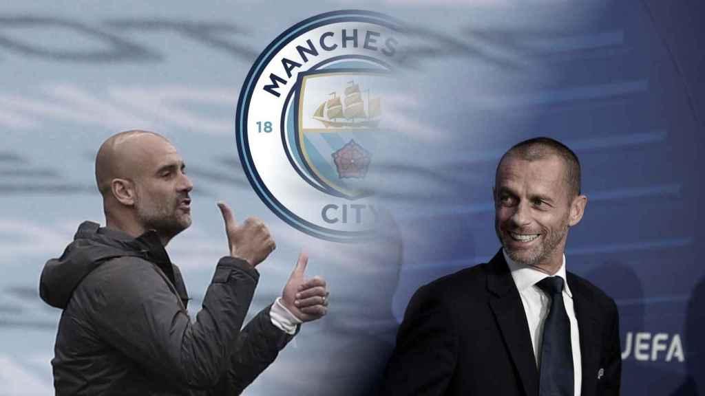 Pep Guardiola y Ceferin