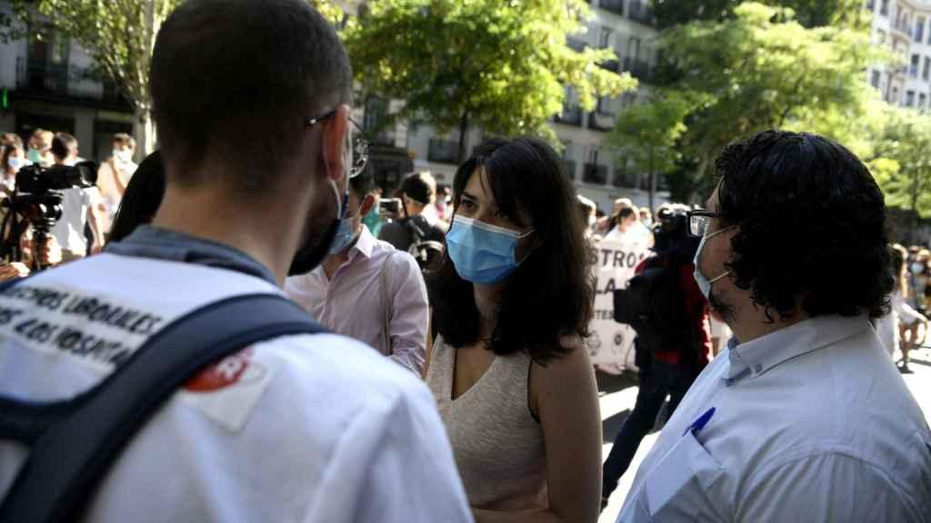 Isabel Serra, este lunes en la manifestación de los MIR en Madrid.
