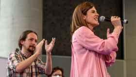 Pablo Iglesias en uno de los últimos mítines de campaña en el País Vasco con la candidata Miren Gorrotxategi.