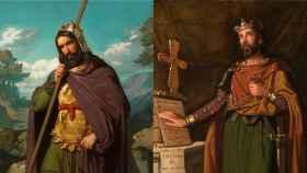 Leovigildo y Recaredo, pintados por Juan de Barroeta y Dióscoro Puebla respectivamente.