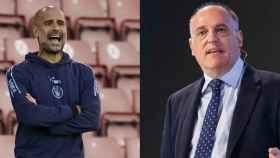 Pep Guardiola y Javier Tebas