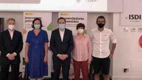 Pellón, Bayón, Fontinoy, Portero y Portero en la presentación del informe (de izquierda a derecha).