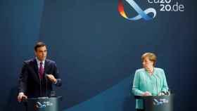 Pedro Sánchez y Angela Merkel, durante su comparecencia conjunta de este martes