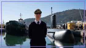 Laura Vitalia González Martínez, primera oficial de submarino de la Armada, en el Arsenal de Cartagena.