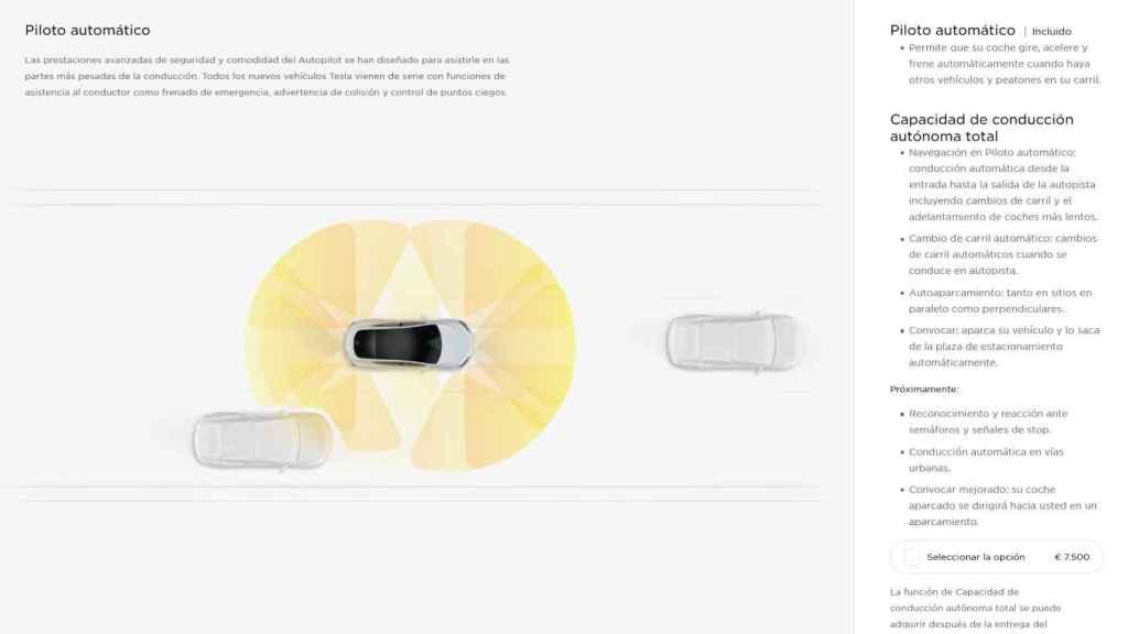 La página web de Tesla para España promete Capacidad de conducción autónoma total