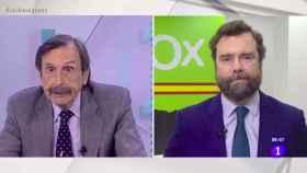 Papell y Espinosa de los Monteros durante su rifirrafe en la televisión pública.