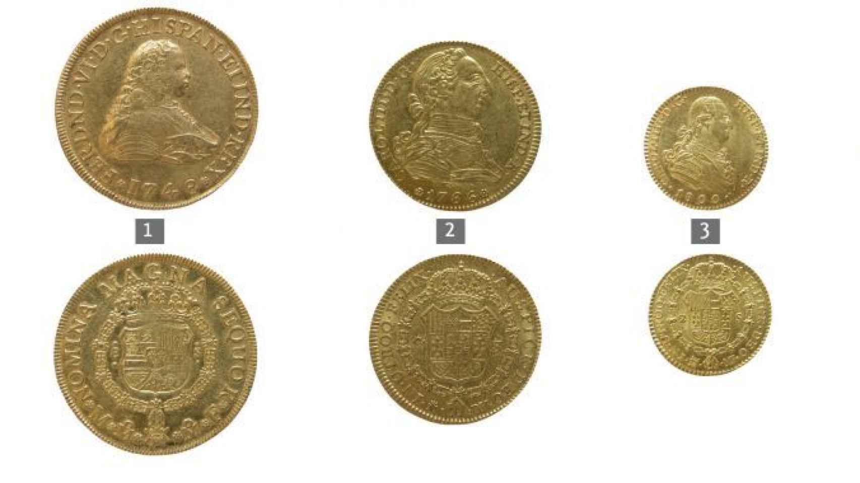Monedas de oro del Tesoro de Sant Joan d'Alacant.