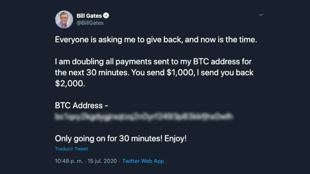 Captura de uno de los tuits, en este caso en la cuenta de Bill Gates