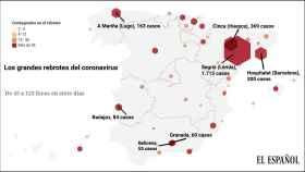 Mapa de los rebrotes de Covid en España.