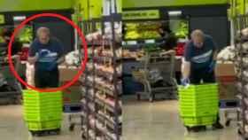 Imagen del vídeo, con el trabajador pillado 'in fraganti'