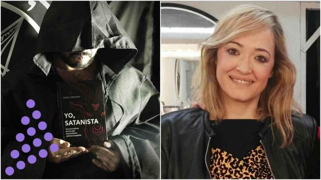 Teresa Porqueras junto a una imagen de su libro: 'Yo, satanista'.