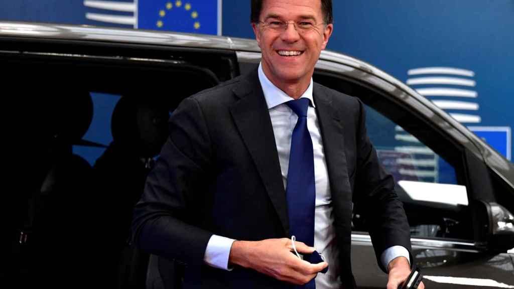 El primer ministro holandés, Mark Rutte, a su llegada este viernes a la cumbre de Bruselas