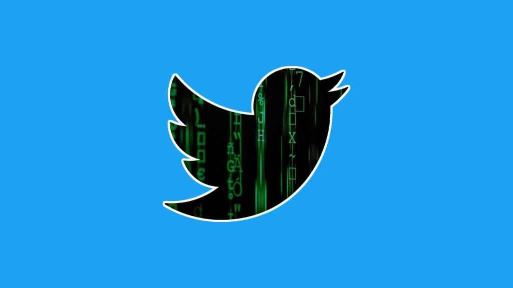 Logo de Twitter con glifos de hackeo.