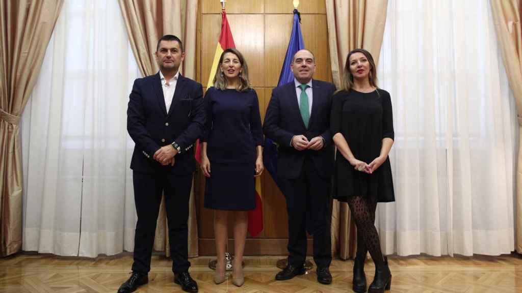 Eduardo Abad,  Yolanda Díaz, Lorenzo Amor y María José Landaburu, en una imagen de archivo.