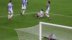 Los jugadores del Leganés celebran la victoria ante el Athletic