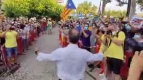 Josep Rull. exconseller de Territorio,  ha sido recibido multitudinariamente en Terrassa.