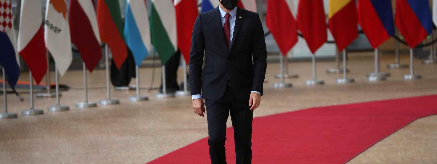 El presidente del Gobierno, Pedro Sánchez, a su llegada este viernes a la cumbre de Bruselas