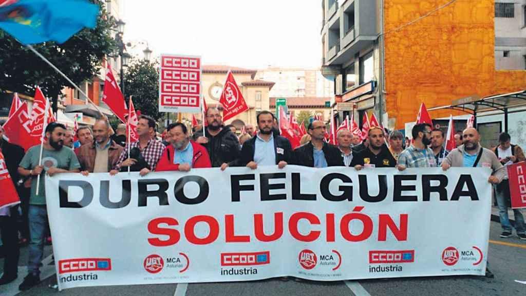 Manifestación de la plantilla de Duro Felguera, en una imagen de archivo.