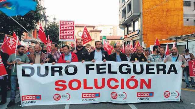 Manifestación de sindicatos de Duro Felguera, en una imagen de archivo.
