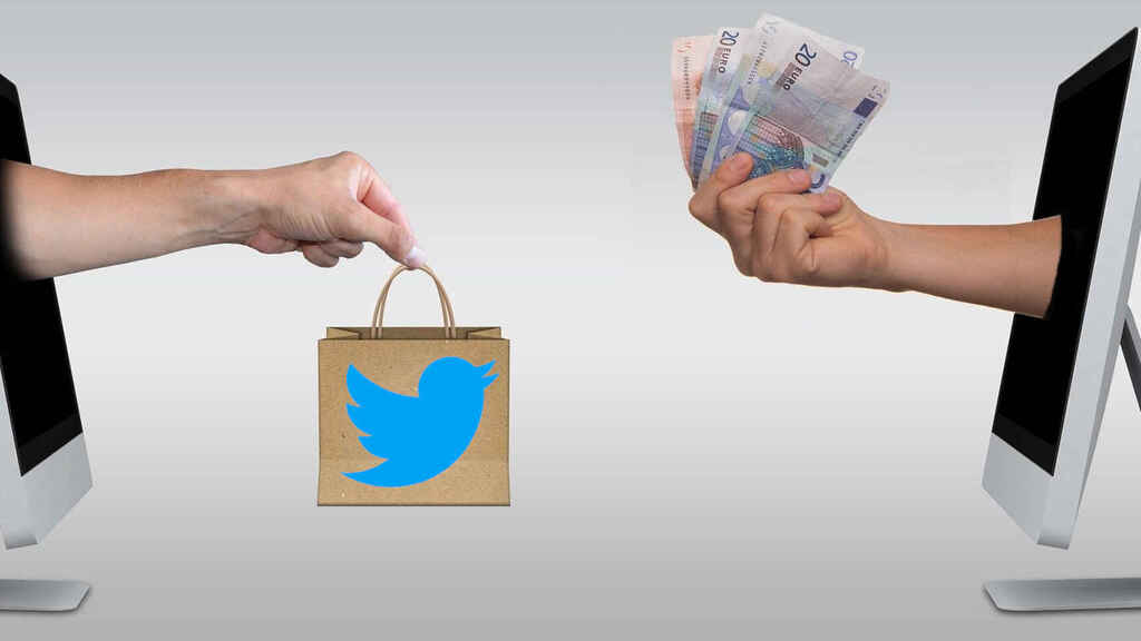 Fotomontaje de venta de cuentas de Twitter